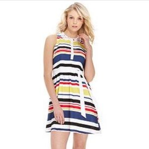 Striped Kenzie Dress with Lace Peter Pan Collar